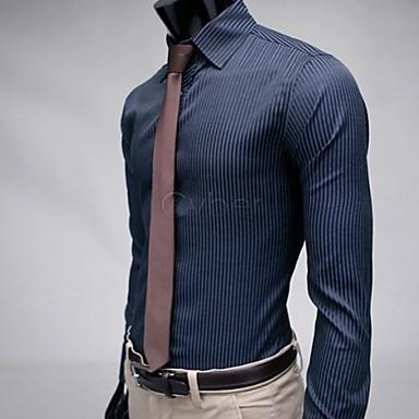 b931fbaf3f csíkos elegáns alkalmi ruha slim fit hosszú ujjú férfi ing fekete kék m / l  /