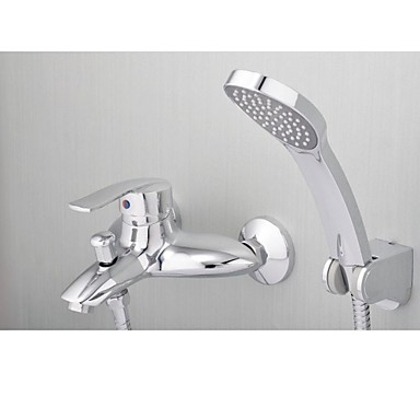 Shower Faucet / Bathtub Faucet - Contemporary - Waterfall / Handshower Included - Brass (Chrome)