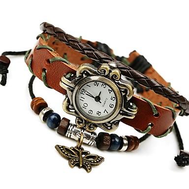 Женские Модные часы Наручные часы Часы-браслет Кварцевый Кожа Группа Винтаж Коричневый