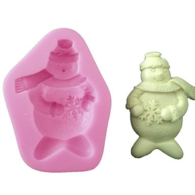 3D Silicone Cake Decorating Mold Snowman for Christmas and Party Decoration,Baking Tool