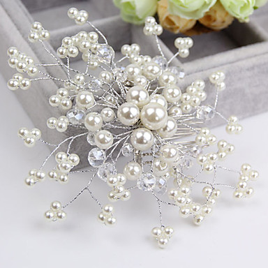 Crystal Imitation Pearl Hair Combs Flowers 1 Wedding Special Occasion Casual Headpiece