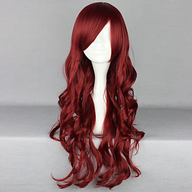 Synthetic Wig Curly / Deep Wave Asymmetrical Haircut / With Bangs Synthetic Hair Natural Hairline / Side Part Red Wig Women's Long Capless