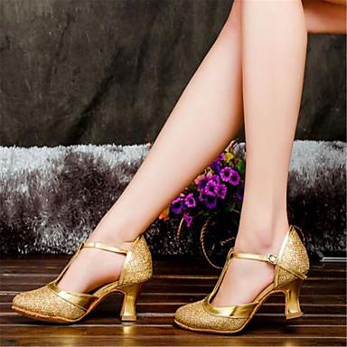 Жен. Обувь для модерна Сатин Сандалии Пряжки На толстом каблуке Не персонализируемая Танцевальная обувь Серебро / Золотистый