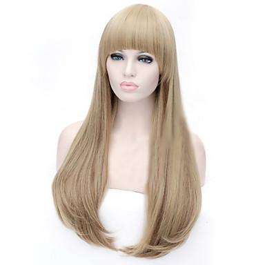 Syntetiske parykker Rett Asymmetrisk frisyre Syntetisk hår Naturlig hårlinje Brun Parykk Dame Lang Lokkløs Middels Auburn