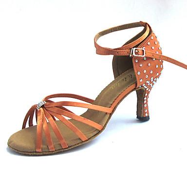 Damen Schuhe für den lateinamerikanischen Tanz Satin Sandalen Strass / Kristall Maßgefertigter Absatz Maßfertigung Tanzschuhe Tan