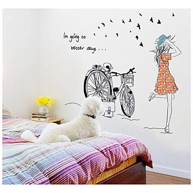naklejki ścienne, naklejki na ścianę, naklejki ścienne na rowerze dziewczyna z pcv