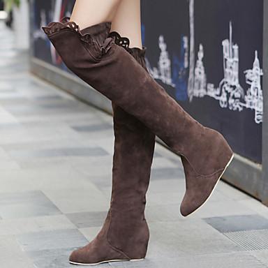 Per donna Scarpe Scamosciato Inverno Autunno Zeppa 50,8 cm ca. o più Stivali oltre il ginocchio Pizzo per Formale Nero Marrone Rosa