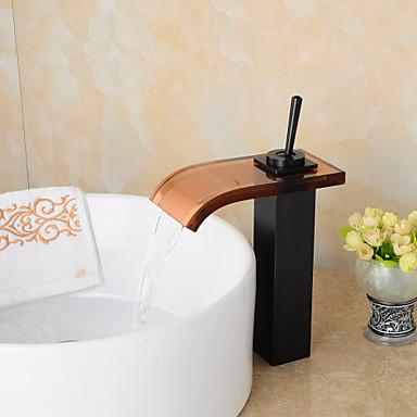 Moderne Becken Wasserfall Keramisches Ventil Ein Loch Einhand Ein Loch Öl-riebe Bronze