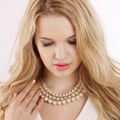 Damen Perle Statement Ketten  -  Modisch Europäisch Farbbildschirm Modische Halsketten Für Party