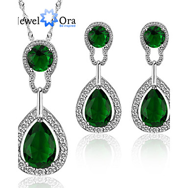 Cubic Zirconia Jewelry Set - Gold Plated Fashion, Elegant Include Green For Party / Special Occasion / Anniversary / Earrings / Necklace