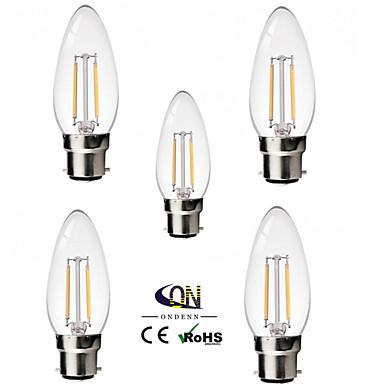 b22 led filament ampuller c35 2 cob 200lm sıcak beyaz 2800-3200k kısılabilir ac 220-240 ac 110-130v