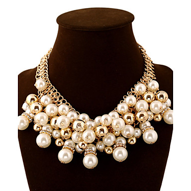 Dame Perle Lag-på-lag Uttalelse Halskjeder - Perle Ball Statement, Luksus, Europeisk Gylden Halskjeder Smykker Til Fest, Spesiell Leilighet, Bursdag