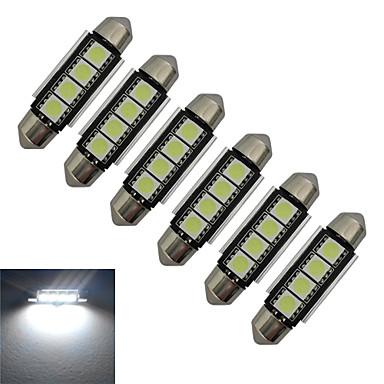 Jiawen 6 pcs 1.5 w 80-90 lm luz do carro luz de leitura decoração luz 4 leds smd 5050 branco frio dc 12 v