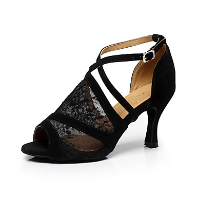 Women's Latin Shoes / Ballroom Shoes Lace Sandal Buckle Stiletto Heel Customizable Dance Shoes Black