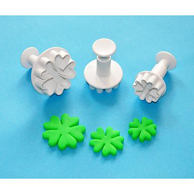 Négy-c szív szív alakú műanyag sugarcraft dugattyú vágó készlet 3, klasszikus torta dekoráció eszközök