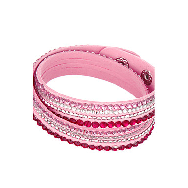 679b507ce7e Women's Crystal Wrap Bracelet Leather Bracelet Layered Stacking Stackable  Cheap Ladies Unique Design Basic Fashion Multi Layer Crystal Bracelet  Jewelry Pink ...