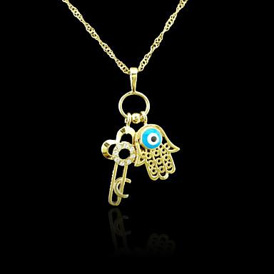 18K Real Gold Plated Hamsa Hand Of Fatima Evil Eye Key Crystal Pendant 3.7*2.5CM
