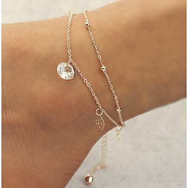 Women's Anklet / Bracelet Imitation Diamond Alloy Double-layer Jewelry For Christmas Gifts Daily Casual