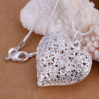 Dame Hul Anheng Halskjede  -  S925 Sterling Sølv Hjerte, Kjærlighed Mote Sølv 45 cm Halskjeder Til Bryllup, Fest, Daglig