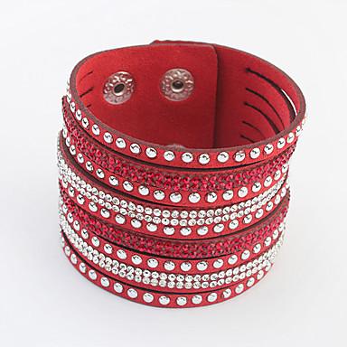 Жен. Wrap Браслеты - Стразы европейский, Мода Браслеты Красный / Зеленый / Синий Назначение Повседневные