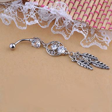 Krystall Navel Ring / Belly Piercing - Krystall, Fuskediamant Fjær Unikt design, Mote Dame Sølv Kroppsmykker Til Julegaver / Daglig / Avslappet