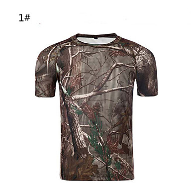 Camouflage Hunting T-shirt Unisex Waterproof Quick Dry Breathable Camouflage Slim Classic T-shirt Top Short Sleeves for Camping / Hiking