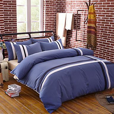 Bettbezug-Sets Streifen 4 Stück Reaktivdruck 1 Stk. Bettdeckenbezug 2 Stk. Kissenbezüge 1 Stk. Betttuch