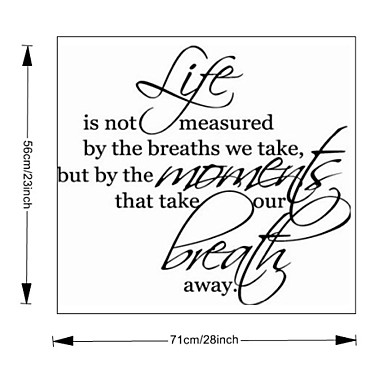Life Is Not Measured home decoration  wall decals ZooYoo8109 decorative  removable vinyl wall stickers