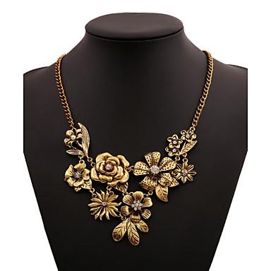 Mulheres Colares Declaração - Flor Dourado, Prata Colar Para Casamento, Ocasião Especial, Aniversário