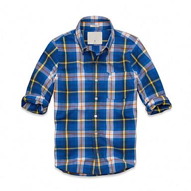 2014 minden meccs férfi márka kockás hosszú ujjú amerikai divat ruha ingek afa524f5b6