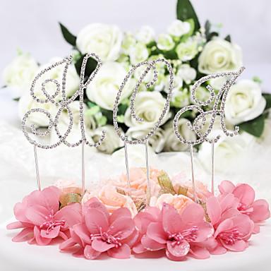 Cake Topper Classic Theme Monogram Chrome Wedding Anniversary Birthday Bridal Shower Baby Shower Quinceañera & Sweet Sixteen With