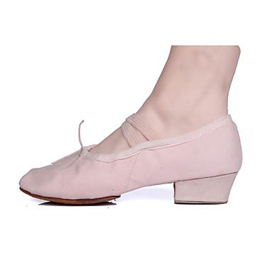 Kadın's Bale Ayakkabıları Kanvas Topuklular / Ayrık Taban Kalın Topuk Kişiselleştirilmiş Dans Ayakkabıları Siyah / Kırmızı / Pembe