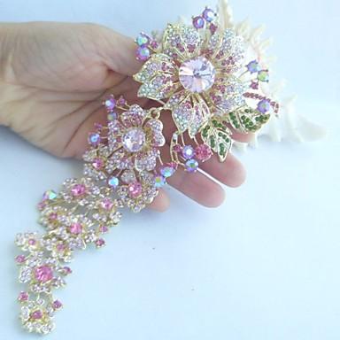 Women Accessories Gold-tone Pink Rhinestone Crystal Orchid Flower Brooch Art Deco Crystal Brooch Bouquet Women Jewelry