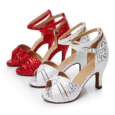Damen Schuhe für den lateinamerikanischen Tanz Wildleder / Seide Sandalen Schnalle Stöckelabsatz Maßfertigung Tanzschuhe Weiß / Rot
