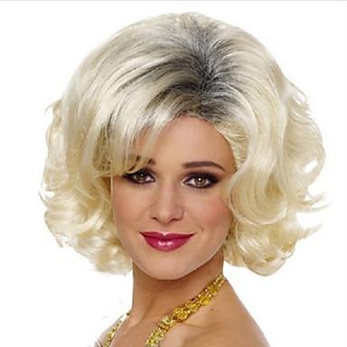 Sentetik Peruklar Bukle / Doğal Dalgalar Asimetrik Saç Kesimi Sentetik Saç Doğal saç çizgisi Sarışın Peruk Kadın's Şort Bonesiz