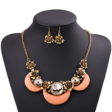 Women's Jewelry Set / Statement Necklace - Cubic Zirconia, Imitation Diamond Roses, Flower Luxury, Statement White, Pink Necklace For Party
