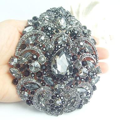 γυναικεία αξεσουάρ μαύρο γκρι στρας κρύσταλλο λουλούδι καρφίτσα deco τέχνης κρυστάλλινα καρφίτσα γυναίκες μπουκέτο κοσμήματα