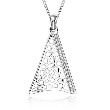 Damen Sterling Silber Zirkon Kubikzirkonia Silber Halsketten Anhängerketten Anhänger - Modisch Geometrische Form Weiß Modische