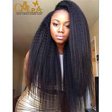Парики из натуральных волос на кружевной основе Натуральные волосы Полностью ленточные плотность Прямой силуэт Парик Естественный цвет