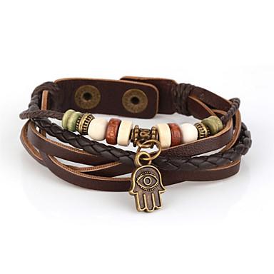 Men's Leather Bracelet Wrap Bracelet Vintage Multi Layer Handmade Inspirational Beaded Leather Hamsa Hand Jewelry Christmas Gifts Daily