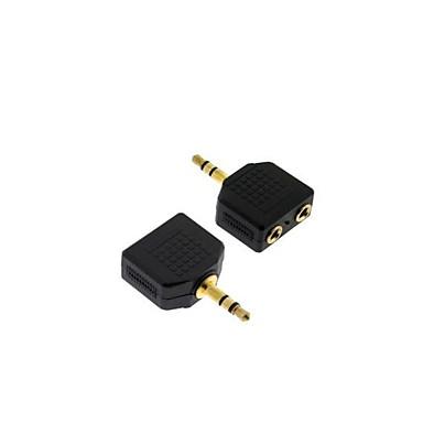 guldpläterad 3,5 mm-splitter 1 hane till 2 hona 3,5 mm-kontakt splitter omvandlare adapter