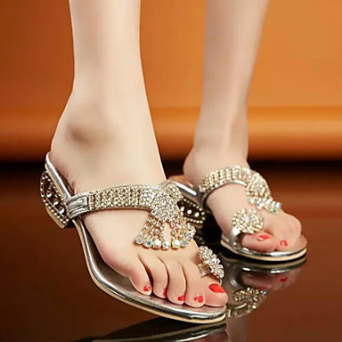 Women S Shoes Rhinestone Low Heel Toe Ring Sandals
