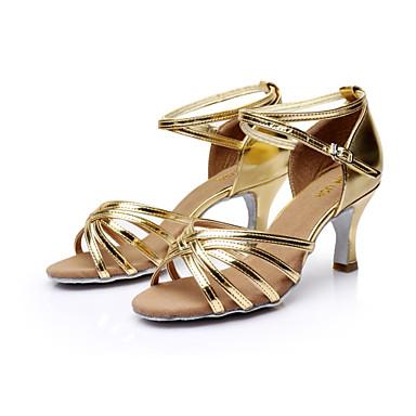 baratos Sapatos de Salsa-Mulheres Sapatos de Dança Pele PU / Cetim Sapatos de Dança Latina / Sapatos de Salsa Presilha Sandália Salto Personalizado Personalizável Prateado / Marrom / Dourado / Couro / EU40