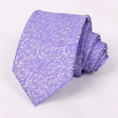 Men's Party/Evening Wedding Formal Purple Roses Polyester Necktie