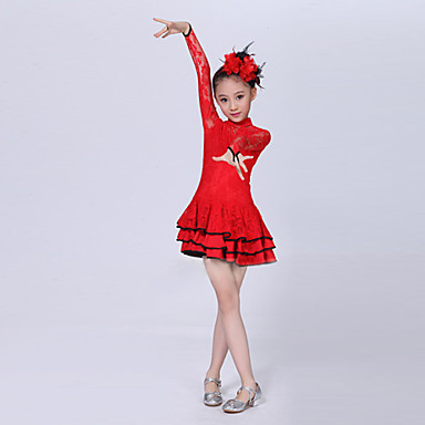 Latin Dance Dresses Performance Polyester Lace Cascading Ruffle Long Sleeves Natural Dress