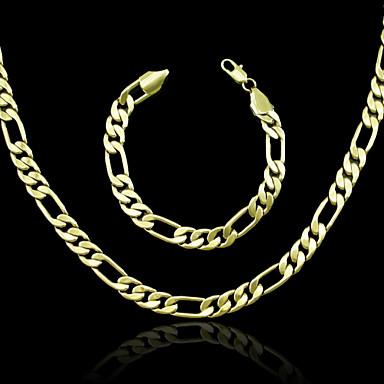 Herrn Damen vergoldet Schmuck-Set Halsketten Armband - Schmuckset Für Hochzeit Party Alltag Normal Sport