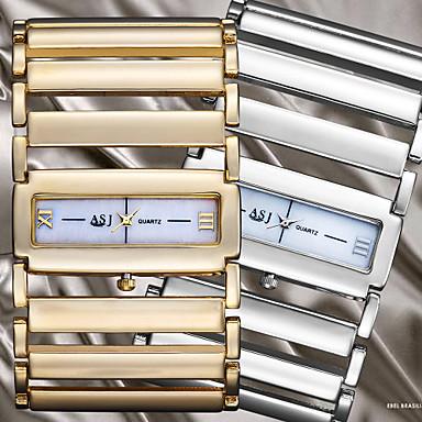 ASJ Kadın's Bilek Saati Derin Oyma Alaşım Bant Halhal Gümüş / Altın Rengi