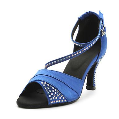 baratos Shall We® Sapatos de Dança-Mulheres Sapatos de Dança Cetim Sapatos de Dança Latina / Dança de Salão Cristais Sandália Salto Personalizado Personalizável Azul / Púrpura / Couro / Couro / EU39