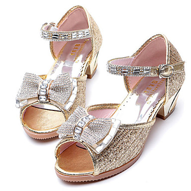 여아 힐 야광 신발 인조 합성 봄 여름 캐쥬얼 드레스 리본장식 청키 굽 골드 퍼플 2.5cm 이하