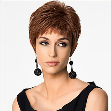 Synthetic Wig Straight Asymmetrical Haircut Synthetic Hair Natural Hairline Brown Wig Women's Short Capless